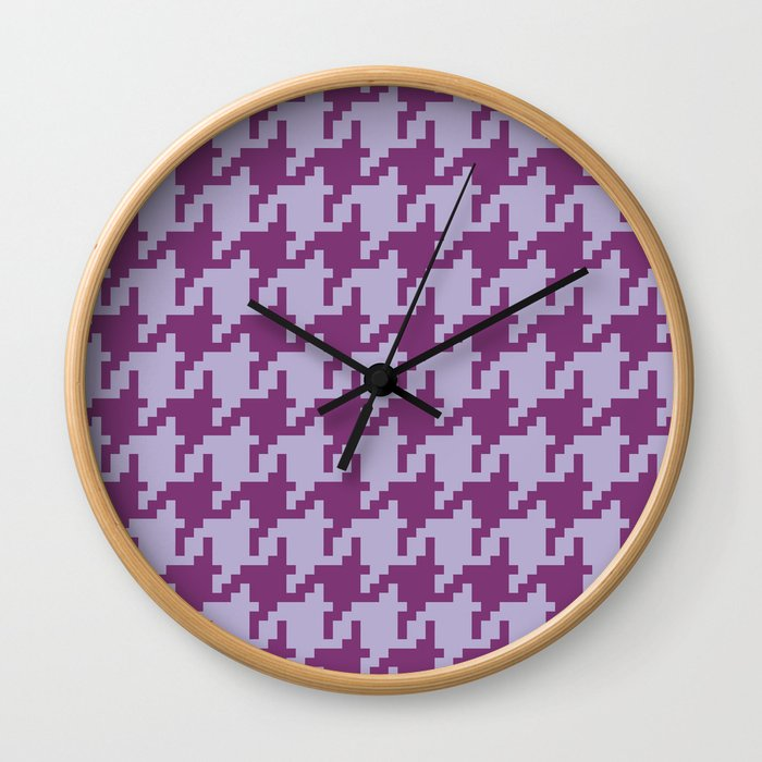 Houndstooth - Purple Wall Clock