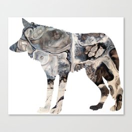 Gray Abstract Fluid Art Wolf Image Canvas Print