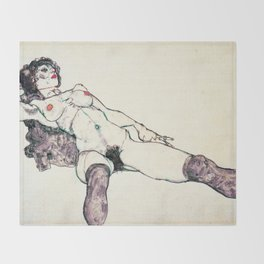 Egon Schiele - reclining female (new color editing) Throw Blanket