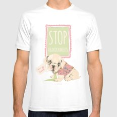 Stop abandonments! MEDIUM White Mens Fitted Tee