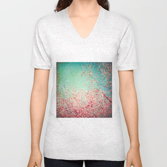 Blue Autumn, Pink leafs on blue, turquoise, green, aqua sky Unisex V-Neck