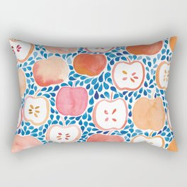 Watercolour Apples | Blue and Orange Palette Rectangular Pillow