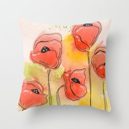 Coral Florals Throw Pillow