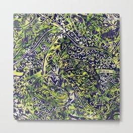 Blue Hawaiian Green Ancient Pattern Metal Print