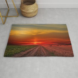 Two roads diverged in a wood, and I—. I took the one less traveled Photographic Rug