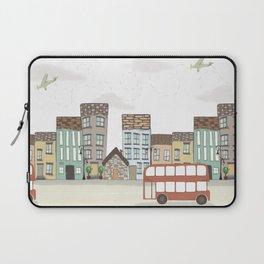 Quirky London Bus Street Scene Laptop Sleeve