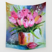 tulips Wall Tapestries featuring Tulips by OLHADARCHUK