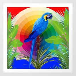 COLORFUL BLUE MACAW DREAMSCAPE JUNGLE ART Art Print