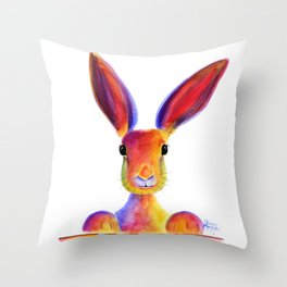 Happy Hare Rabbit ' JUST TO SAY HELLO ' by Shirley MacArthur Throw Pillow