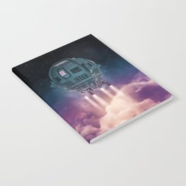 Out of the atmosphere / 3D render of spaceship rising above clouds Notebook