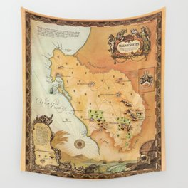 Vintage Map of Cape Town, South Africa Wall Tapestry