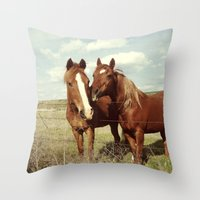 lacrosse Throw Pillows featuring Horse Affection by Kevin Russ