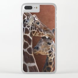 Endearing Giraffes Clear iPhone Case
