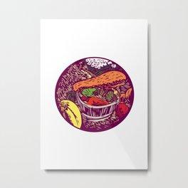 Winter Squash Pumpkin Oval Woodcut Metal Print