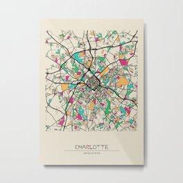 Colorful City Maps: Charlotte, North Carolina Metal Print