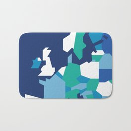 Geometric Europe Map - Blue Bath Mat