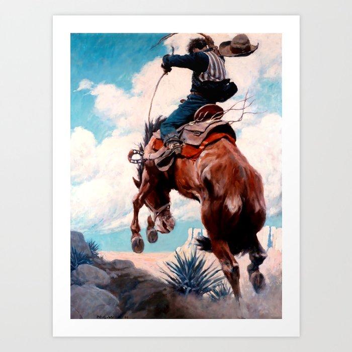 "Vintage Western Painting ""Bucking"" by N C Wyeth Kunstdrucke"