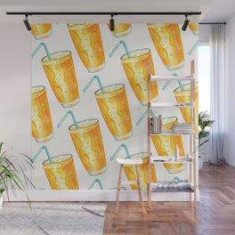 Orange Juice Pattern Wall Mural
