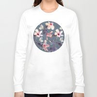 pink Long Sleeve T-shirts featuring Butterflies and Hibiscus Flowers - a painted pattern by micklyn