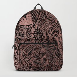 Bohemian black elegant rose gold aztec feathers Backpack