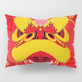 Chinese New Year Dragon and Red Fans Pillow Sham