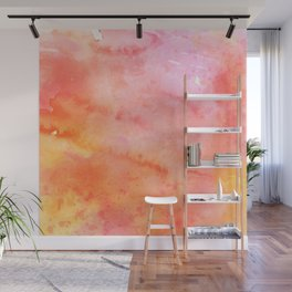 Pink orange yellow watercolor abstract pattern Wall Mural