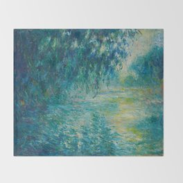 Claude Monet Impressionist Landscape Oil Painting Morning on the Seine Throw Blanket