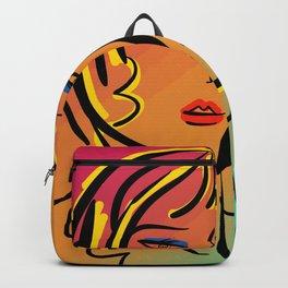 Minimal Vector Pixel Girl Portrait Backpack