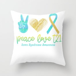 Peace Love Trisomy Throw Pillow