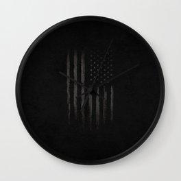 Black American flag Wall Clock