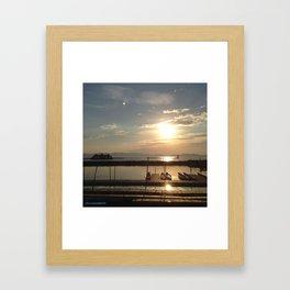 Lake Champlain Ferry to Burlington Vermont at Sunset Framed Art Print