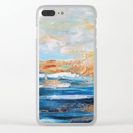 Sailboats and Golden Rays filling the Sea Gold Clear iPhone Case