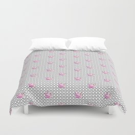 black dots and pink swans Duvet Cover
