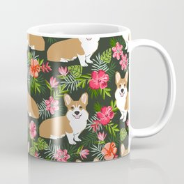 Corgi Hawaiian Print Tropical hibiscus flower cute corgi dog pattern Coffee Mug