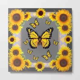 YELLOW MONARCH BUTTERFLIES SUNFLOWER ART Metal Print