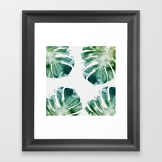 Watercolor Monstera Framed Art Print