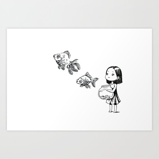Girl and the Fish Art Print