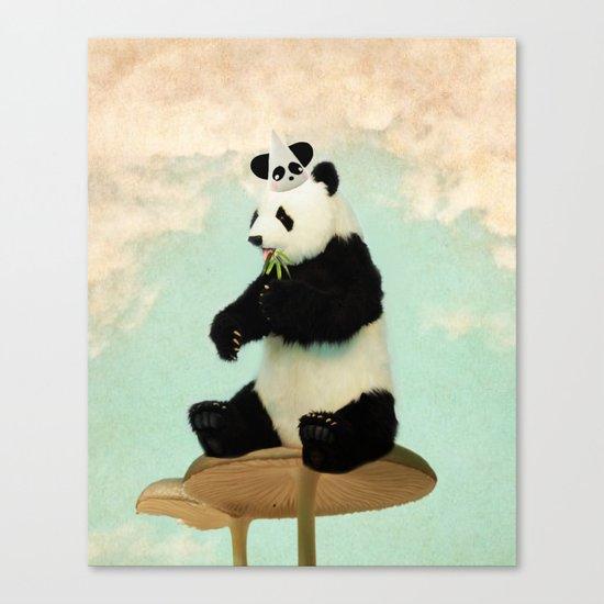 Wild Mushroom Panda Party Canvas Print