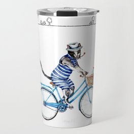 Cat on a Blue Bicycle Travel Mug