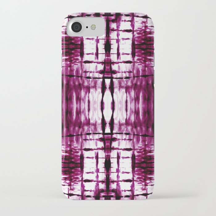 Black Cherry Plaid Shibori iPhone Case