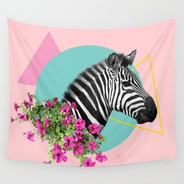 zebra and petunias Wall Tapestry