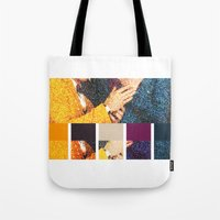 klaine Tote Bags featuring All You Need is Colors by Jen K
