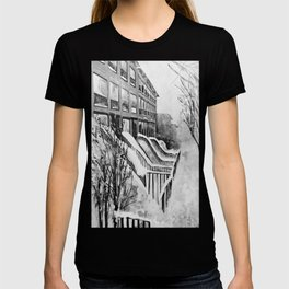 Brooklyn New York in Snow Storm Black and White T-shirt