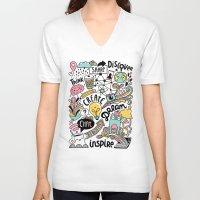 notebook V-neck T-shirts featuring Everyday by Anna Alekseeva kostolom3000