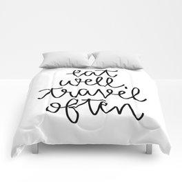 Eat Well Travel Often // Hand Lettered Comforters