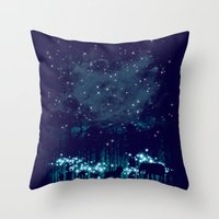 calvin Throw Pillows featuring Cosmic Safari by dan elijah g. fajardo