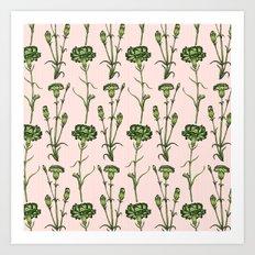 Green Carnations  Art Print