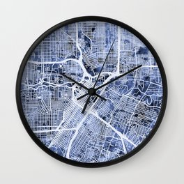 Houston Texas City Street Map Wall Clock