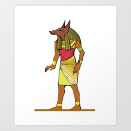 Ancient Egyptian Painting - Anubis, the Wolf God Art Print