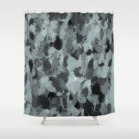 Black and Smokey Blue Pastels 3216 Shower Curtain